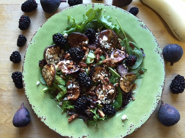 Grilled Figs and Eggplant Salad with Blackberry and Fig Dressing