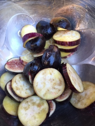 olive oil coated sliced eggplant and figs