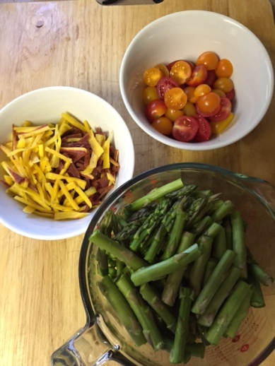 produce ingredients for Balsamic-Honey Glazed Chicken and Asparagus