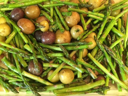ready to roast baby potatoes and asparagus