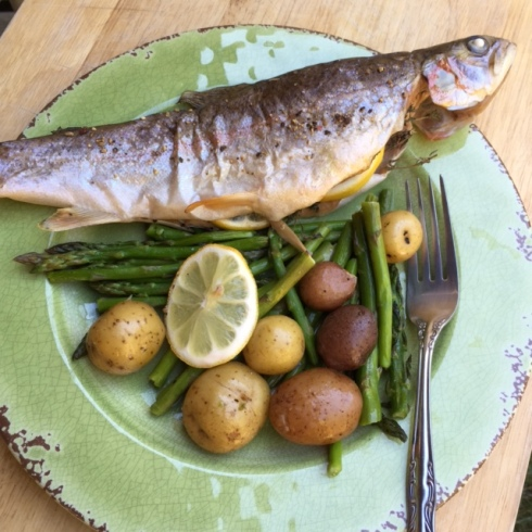 Roasted Trout with Baby Potatoes and Asparagus