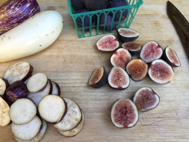 sliced eggplant and figs