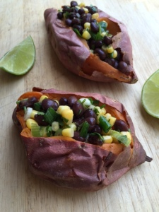 Stuffed Sweet Potato with Chipotle Black Bean and Corn Salad