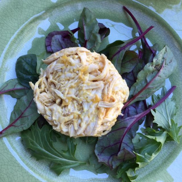baby greens and Mango Guacamole Chicken Salad