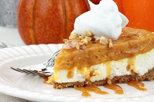 Double Layer No Bake Pumpkin Pie
