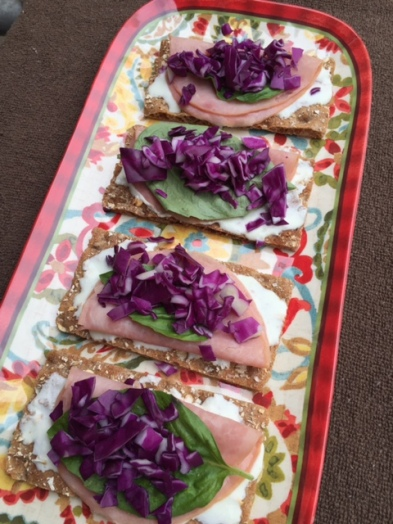 Greek Yogurt Dill Spread with Ham and Red Cabbage On Wasa Crisp Bread