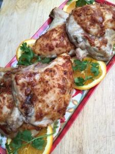 Roasted Chicken With Chipotle Cinnamon Orange Glazeon a platter