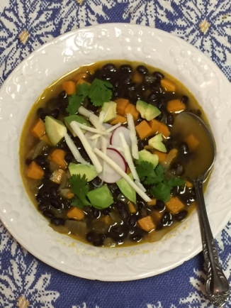 Southwestern Black Bean and Sweet Potato Soup