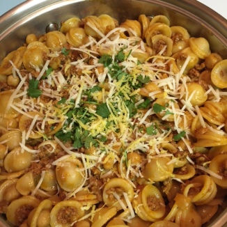 Orecchiette with Chorizo and Chickpeas in the pan