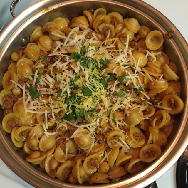 Orecchiette with Chorizo and Chickpeas