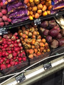 photo of different types of beets sold at the Whole Foods Market