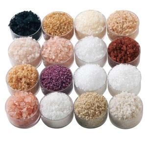Varying colors of natural salt grains
