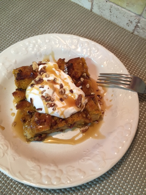 Pumpkin and Pecan Bread Pudding with Toffee Rum Sauce