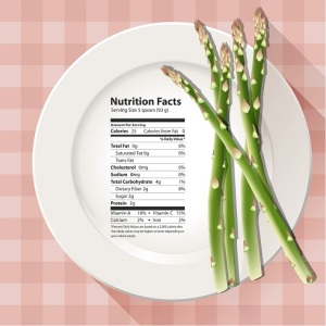 Vector of Nutrition facts asparagus