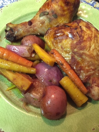 Platted - Roasted Herb Chicken In Red Wine and Vegetables