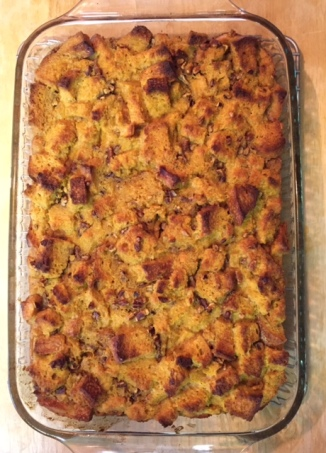 Pumpkin and Pecan Bread Pudding with Toffee Rum Sauce fresh out of the oven