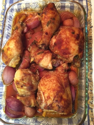 Roasted Herb Chicken In Red Wine - fresh out of the oven
