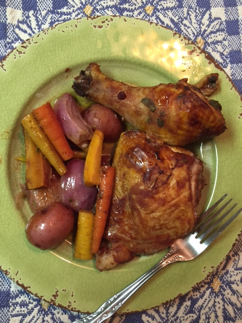 Roasted Herb Chicken In Red Wine