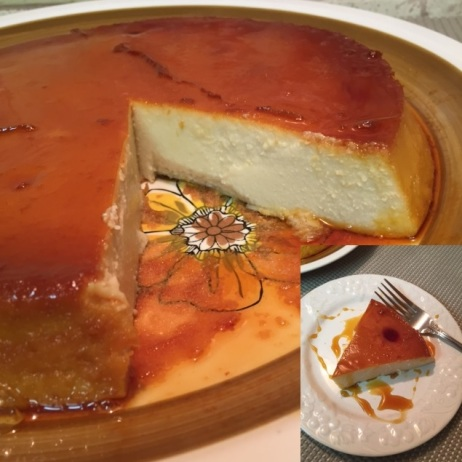 Spanish Flan with a picture incert of a slice on a dessert plate