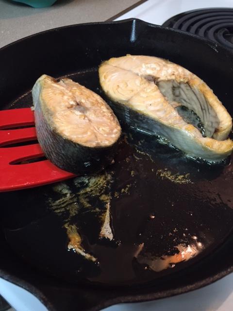 turning salmon steaks