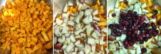 three images of diced fruits