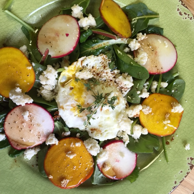 Leafy Greens With Root Vegetables and A Fried Egg And Homemade Cheese