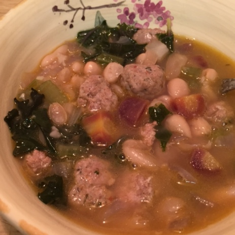 Red Kale Cannellini Beans and Chorizo - close up