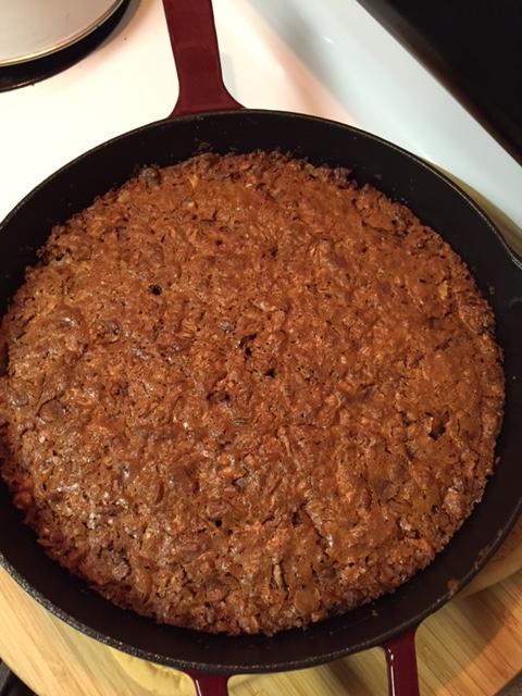 fresh baked Gluten Free Iron Skillet Pecan Coconut Cake