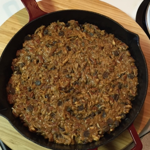 Gluten Free Iron Skillet Pecan Coconut Cake batter in an iron skillet
