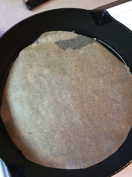 parchment paper on the bottom of iron skillet