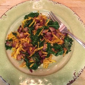 Smoked Bacon Golden Beets and Kale Hash