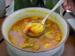 Bowl of Sour Curry Prawns with Cha-Om Omelette