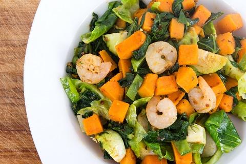 salad plate with Sweet Potato, Kale and Shrimp Skillet