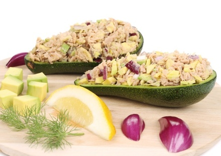 Avocado salad and tuna. Isolated on a white background.