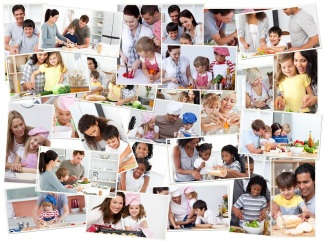 Collage of adults cooking with their children - Cooking Simple With Your Family