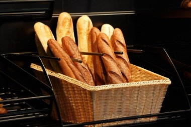 Some fresh baguettes in the basket at the bakery