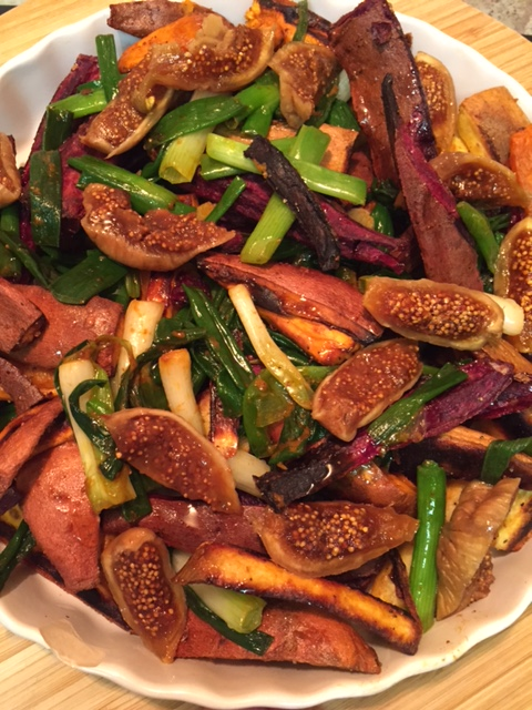 Roasted Sweet Potatoes and Figs - close up