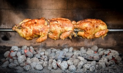 Cooking 3 rotisserie chicken on the grill with Charcoal and Briquettes