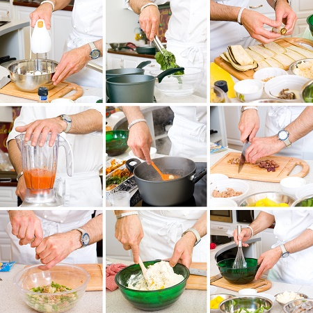 college of hands of chefs in the process of cooking