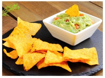 guacamole dip and corn chips