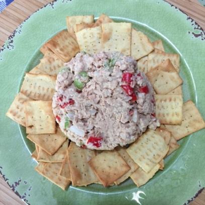 Honey Mustard Salmon Salad on a green platter with gluten free crackers