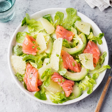 Mixed Greens with Smoked Salmon Avocado and Grapefruit Salad