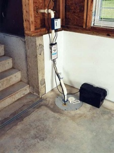 sump pump in a house basement