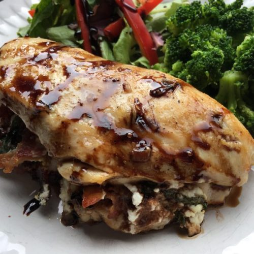 Smoked Bacon And Ricotta Cheese Stuffed Chicken Breasts - close up