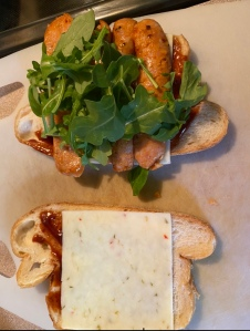 Grilled cheese sandwich with chicken sausage