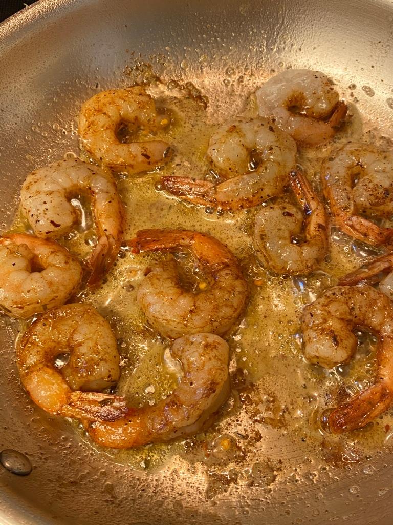 Shrimp in  a frying pan