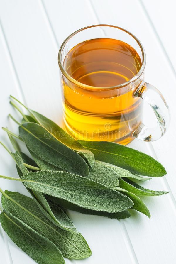 Sage tea and leaves