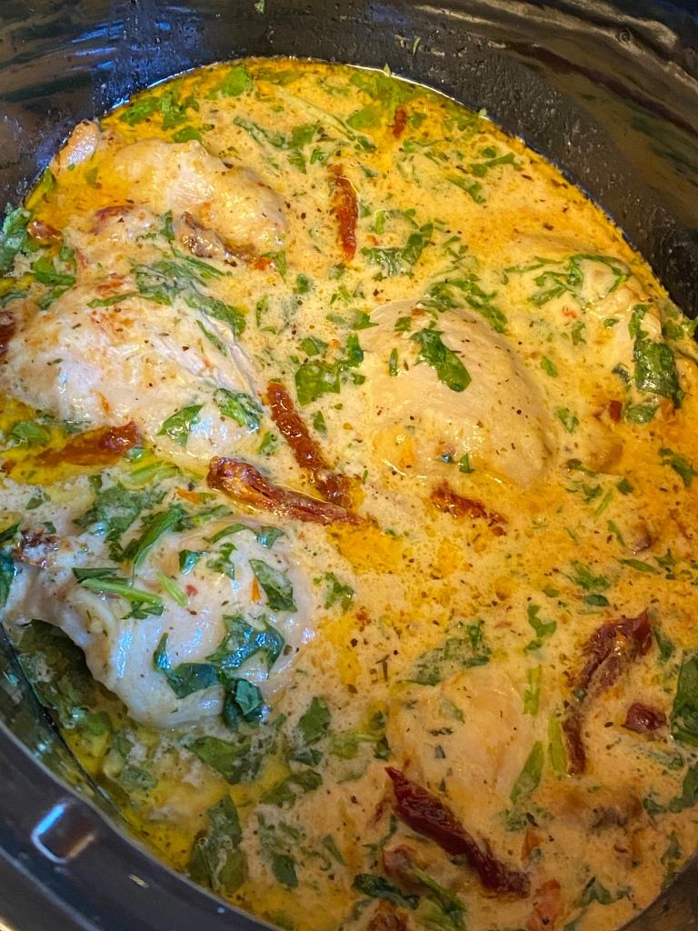 Crock Pot  Creamy Tuscan Chicken Thighs